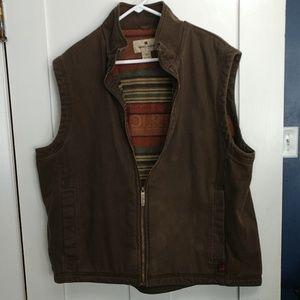 Woolrich Brown Fleece Barn Vest in Saddle